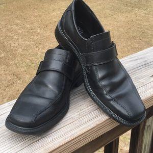 Mens ECCO Black Loafers w/ Jersey Buckle Sz 42